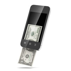 Modern mobile phone with hundred dollar