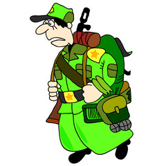 Cartoon soldier in uniform for the vector