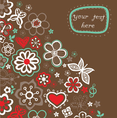 Floral background, summer theme, greeting card. Template design