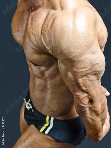 Muscular pecs and arm of male bodybuilder