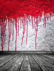 Blood on wall, abstract room interior