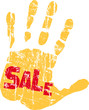 sale sign, hand, vector, isolated on white background