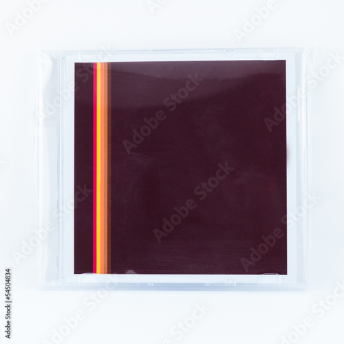 cd case box in the plastic wrap on white background