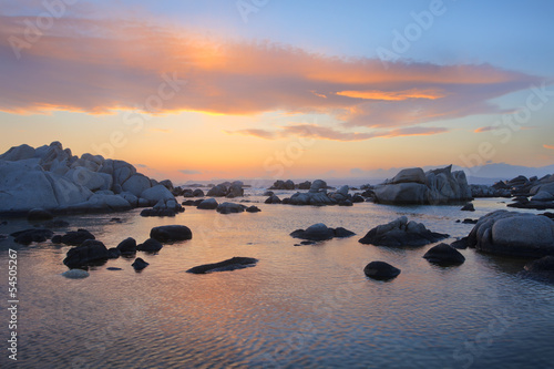 sea stones after sunset