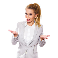 Young frustrated business woman isolated on white background.