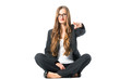 Young self confident business woman pointing