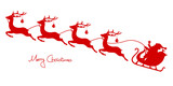 Christmas Sleigh Santa & 4 Flying Reindeers Red