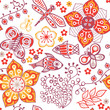 Colorful floral seamless pattern in cartoon style. Seamless patt
