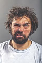 Weird guy making a crazy face