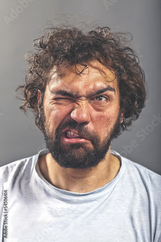 Weird guy making a crazy face