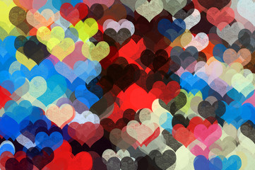 colorful hearts pattern illustration