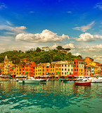 Portofino village on Ligurian coast, mediterranean sea