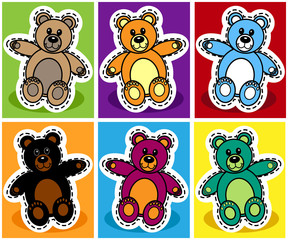 Seamless cartoon bear patchwork