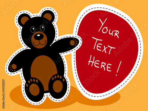 Cartoon black bear with sign