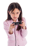 Serious Yound Girl with Games Console Controller.