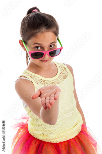 Funny Young Girl with Hand Out Flat.