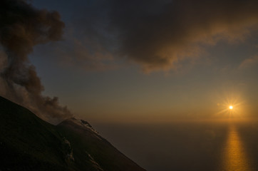 Sunset from the top of an active volcano