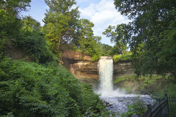 Minnehaha Falls in Minneapolis, Minnesota on a summer morning