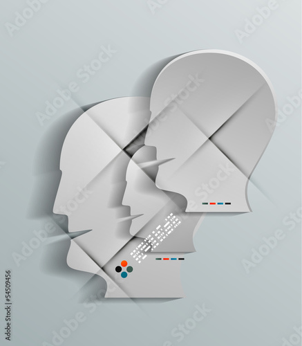 Human head vector 3d paper design