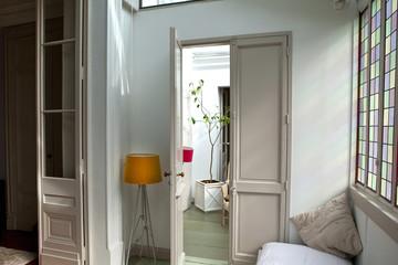 Immobilier, maison, salon, pièce, intérieur, décoration