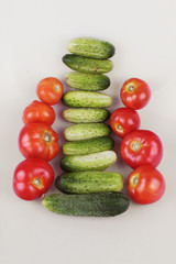 cucumbers and tomatoes (Vegetables)