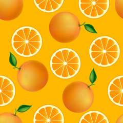 Citrus seamless pattern with oranges.