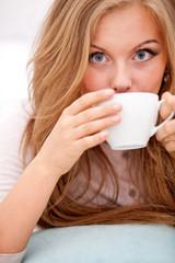 woman drinking coffee, tea
