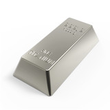 Titanium ingot isolated on white. 3D photo rendering.