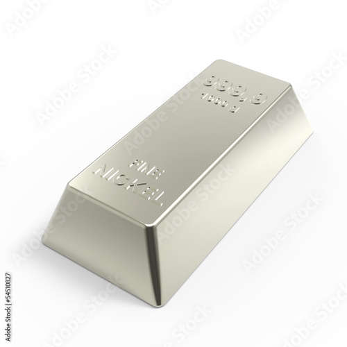 Nickel ingot isolated on white. 3D photo rendering.