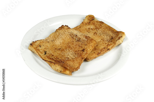 French toast on a white background.