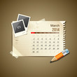 Calendar March 2014, vintage paper note, vector