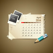 Calendar April 2014, vintage paper note, vector