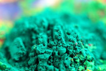 Green grains of gulal