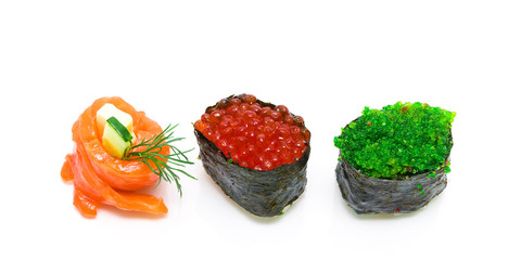 Roll with salmon and sushi with caviar isolated on white backgro