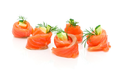 Rolls salmon with cucumber and cheese isolated on white backgrou