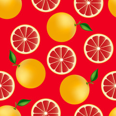 Citrus seamless pattern with grapefruits