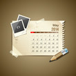 Calendar May 2014, vintage paper note, vector