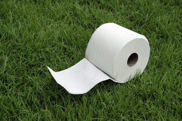 White tissue paper on the lawn.