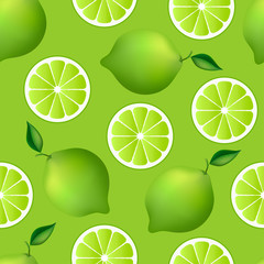 Citrus seamless pattern with limes