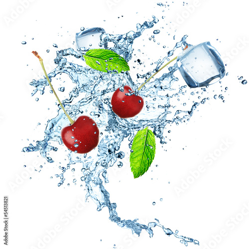 fresh cherries with water splash