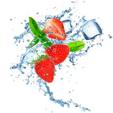 strawberry in water splash
