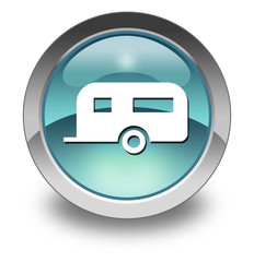 "Light Blue Glossy Pictogram ""Camping Trailer"""