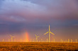 Windfarm at dusk after a storm