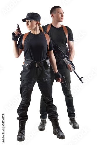 Police officers with guns