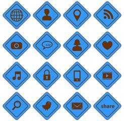 set 1 icônes réseaux sociaux panneaux uni