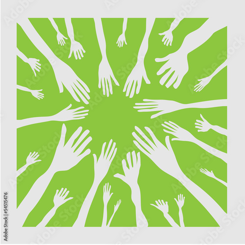 vector illustration of hands as team symbol