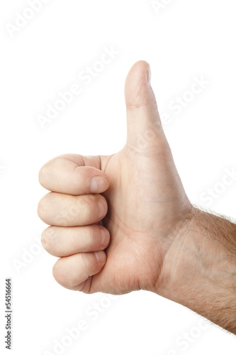 thumb up male hand isolated on white background