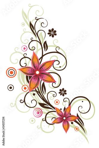 tendril-w-stylu-retro-kwiaty-lato-pomaranczowy-rozowy