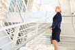 young businesswoman walking on stairs