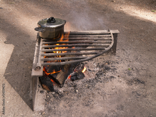 Cook pot over camp fire